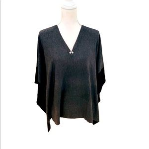 NWT Charlie Paige soft gray & black knit poncho